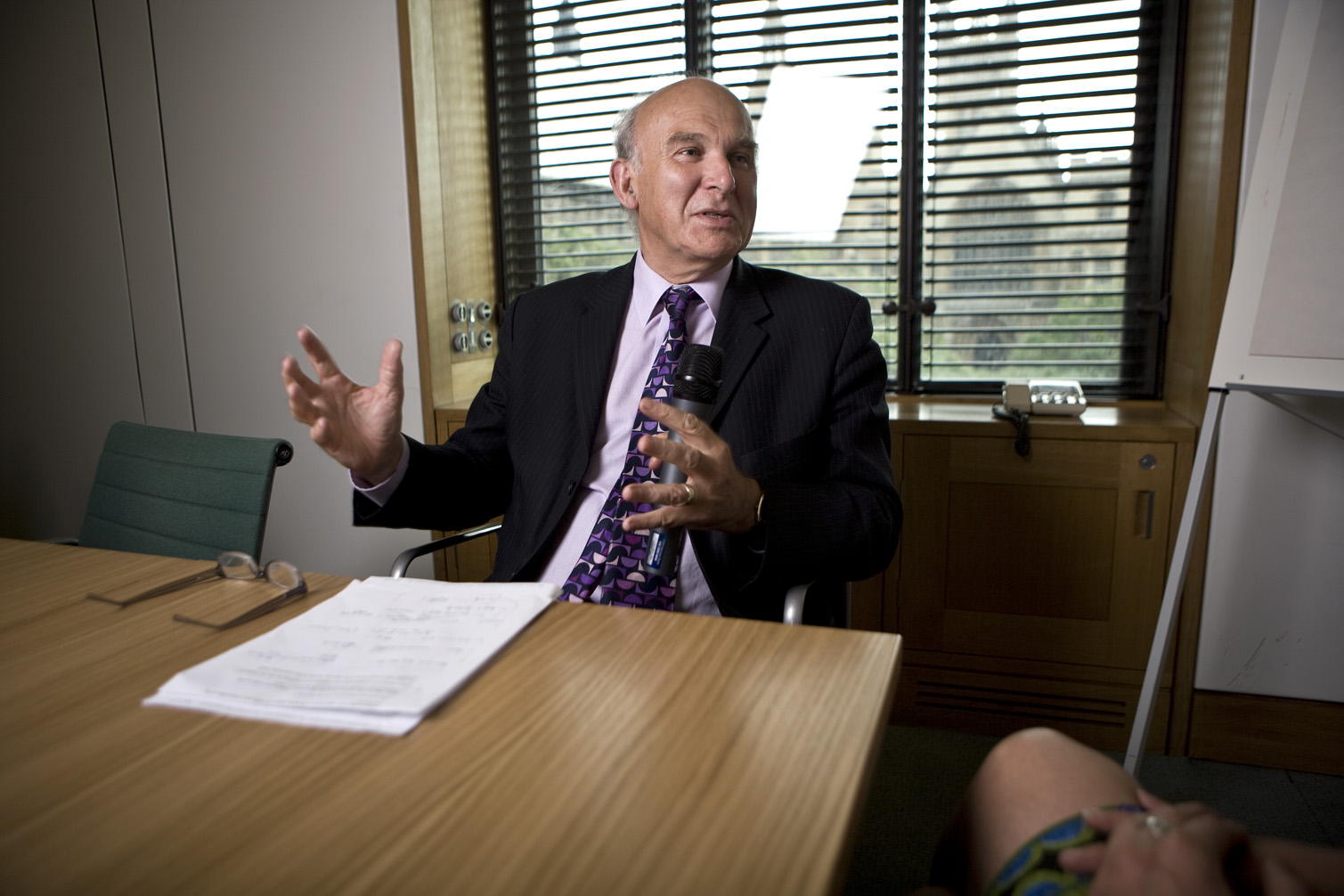MP Vince Cable poses questions to Stephanie Flanders
