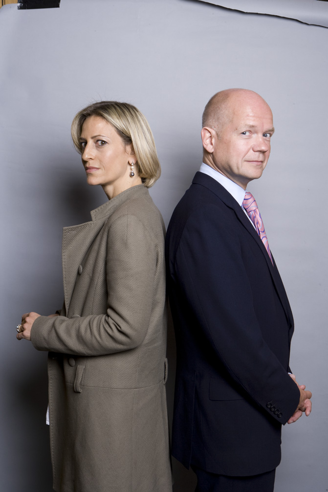 BBC's Emily Maitlis with MP William Hague (left) Jon Snow and MP Ann Widdecombe (right)