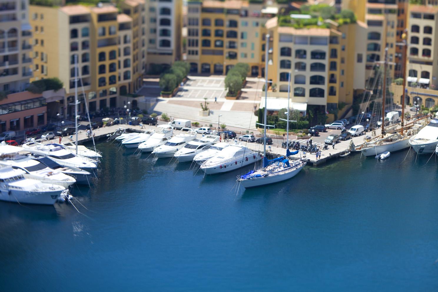 Tilt shift photographs taken around Monaco while filming video during the Grand Prix