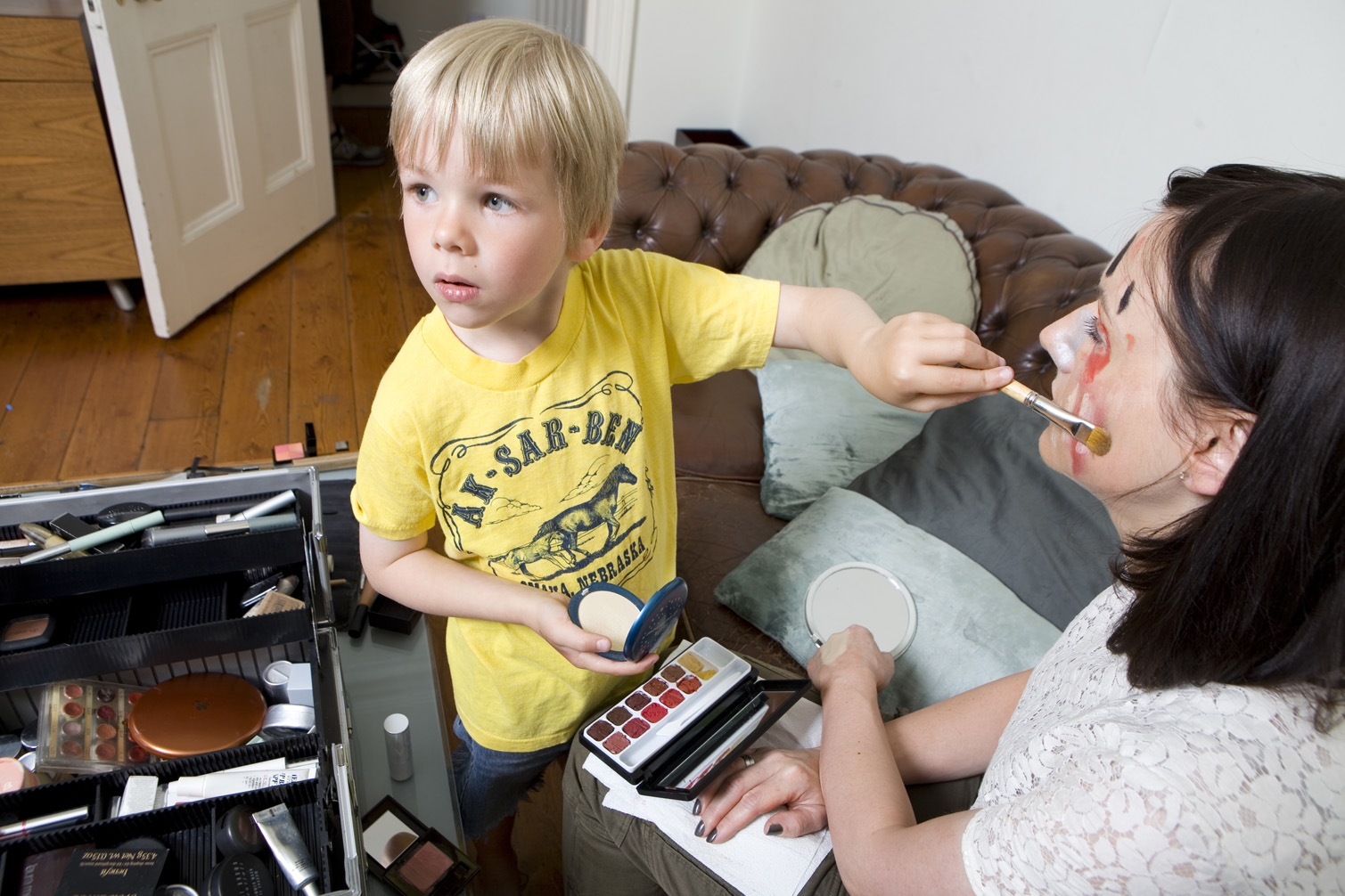 Beauty writer Sali Hughes and son's Marvin and Arthur