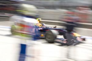 Sebastian Vettel zooms though the pitlane at the Hungarin Grand Prix