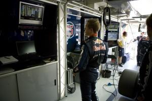 Sebastian Vettel looks at the results on screen