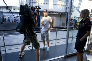 Sebastian Vettel talks to the international media, at the Hungarian Grand Prix