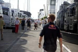Sebastian Vettel walks through the paddock at the Hungarian Grand Prix