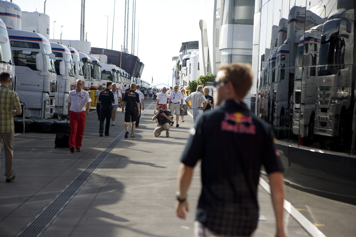 Sebastian Vettel walks through the paddock at the Hungarian Grand Prix