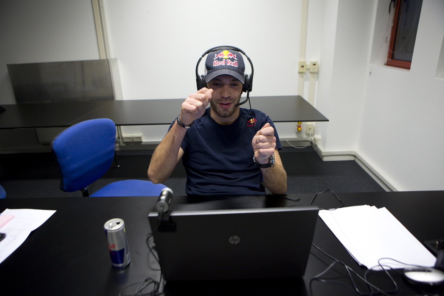 Jean-Eric Vergne takes part in an online interview.