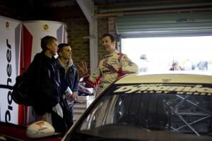 Matt Neal chats to fans in the Honda garage.