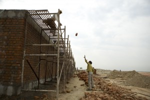 Workers building the Buddh International Circuit