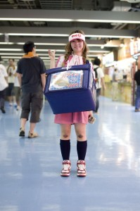 Girls selling beers and snacks at the Tokyo Dome, home of the Yomiuri Giants baseball team.