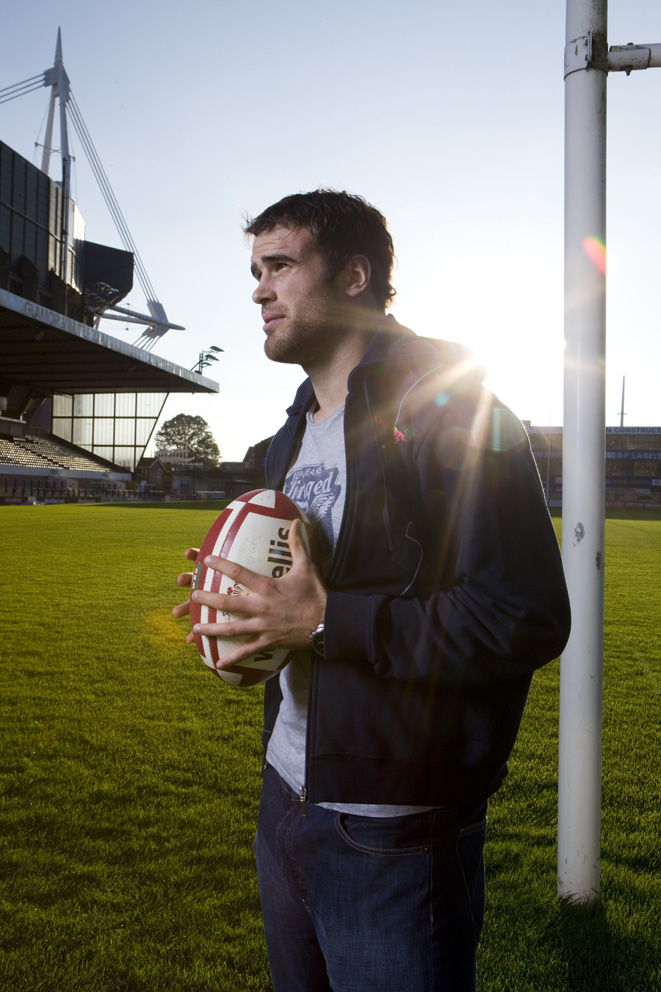 Rugby player for Cardiff Blues, Wales and the British and Irish Lions, shot for Red Bull.