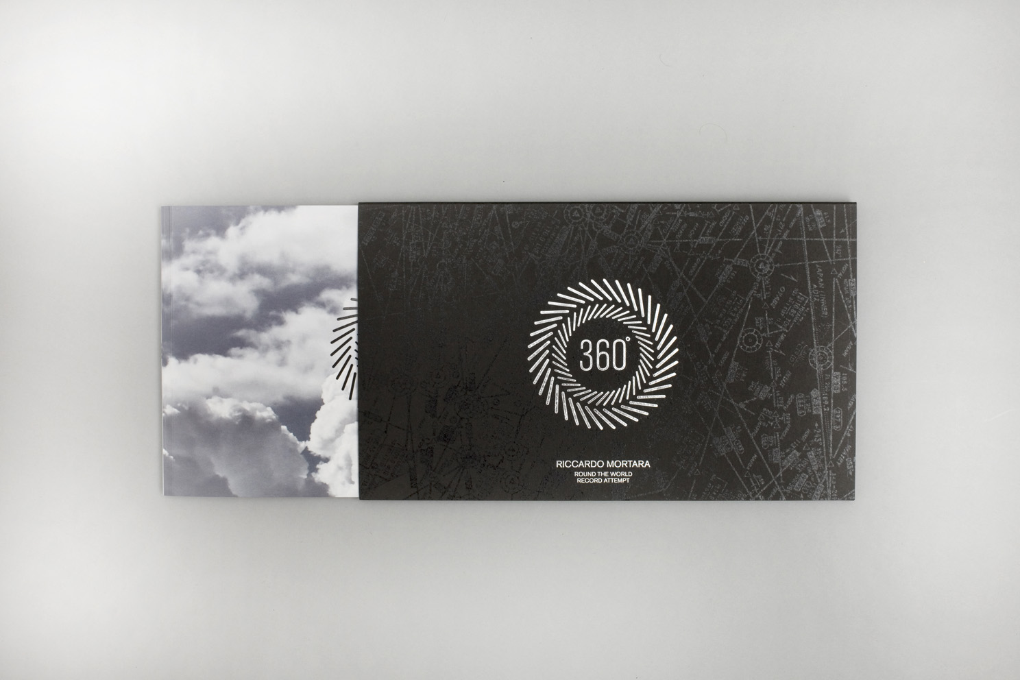 Cover and book insert for the round the world fastest flight record attempt by Riccardo Mortara