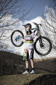 Downhill mountain bike rider shot for the Red Bulletin at her home in Wales