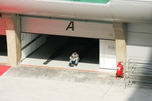 A marshall takes a rest during the Malaysian Grand Prix