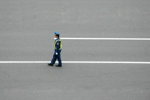 A police officer at the Japanese Grand Prix