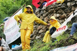 Fans on the hillside at the Monaco Grand Prix