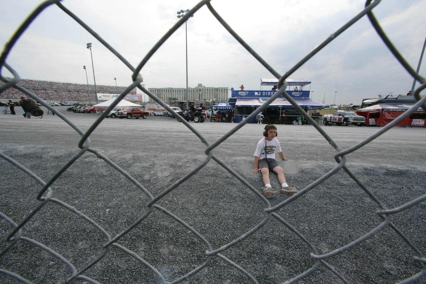 Young fan watches the action