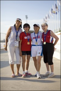 Nina Naumenko age 87, 10,000m, and other members of the 80+ Russian team