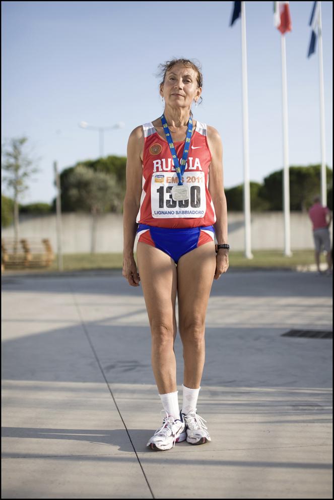 Alfiya Semenova age 62, 10,000m, Russia (left) Smotoshenkova Liubov aged 56, 10,000m Russia (Right)