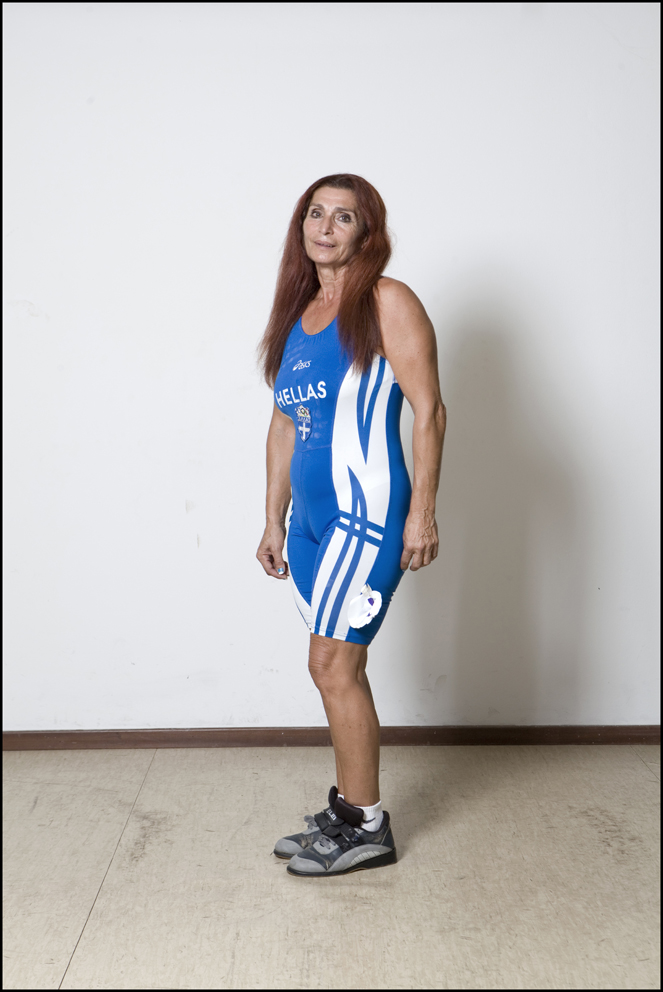 Natalia Kryvych, Ukraine, Weightlifting (left) Magdalini Roilidou-Tsitsoula aged 62, Greece, Weightlifting (right)