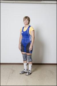 Natalia Kryvych, Ukraine, Weightlifting (left) Magdalini Roilidou-Tsitsoula aged 62, Greece, Weightlifting (right)