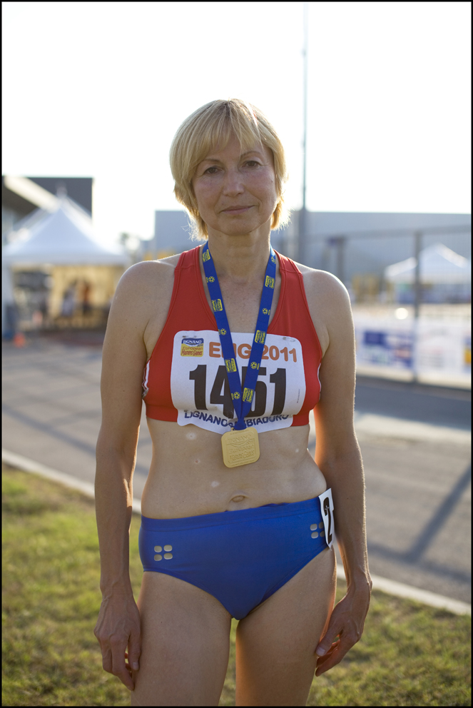 Fiona Argent, Athletics, Great Britain (left) Smotoshenkova Liubov aged 56, Athletics, Russia (Right)