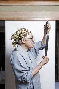 Mr Koshimizu,  (otake-teuchi-hamono) mastersmith and maker of kitchen knives. He is from a family of Samurai Sword makers.