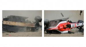 Christijan Albers crashes his Minardi F1 car, in a big way