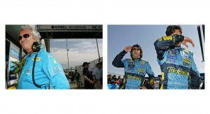 Team boss of Renault F1 Flavio Briatore and right Renault Drivers Fernando Alonso and Giancarlo Fisichella