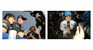 Minardi's Robert Doornbos talks to the TV and Fernando Alonso