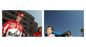 Michael Schumacher walks through the Monaco paddock and on the right Alain Prost