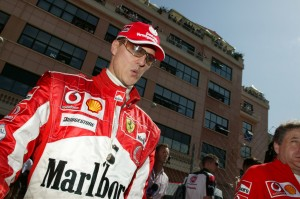 Wistle while you win, Michael Schumacher walking through the Monaco Paddock, 2005