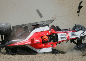 Christijan Albers fly's out of the San Marino Grand Prix