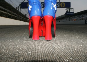 A grid girls boots at the USA grand Prix