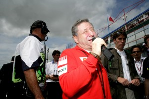 Jean Todt sings the French National anthem at the French Grand Prix 2005.
