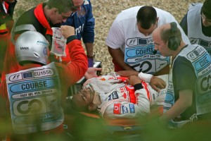 Lewis Hamilton after crashing at the German Grand Prix, don't worry, it looks much worse than it is