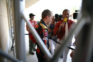 Kai Ebel quizzes the Toro Rosso driver, at the Bahrain Grand Prix