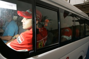Felipe Massa being driven away from a meet and greet with fans, Bahrain 2007