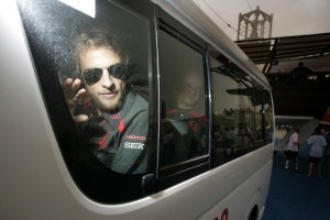 Honda's Jenson Button, waves to fans at the Bahrain grand Prix