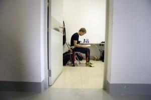 Toro Rosso's Sebastian Vettel sits waiting, at the Chinese Grand Prix 2008