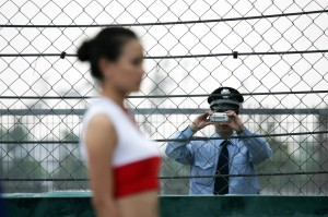 A Japanese policeman investigates the grid girls