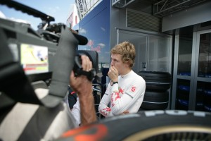 Seb faces the press, at the French Grand Prix