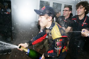 Celebrating the win, and what a win! At the Italian Grand Prix 2008