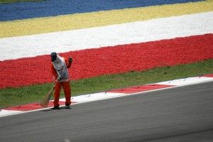 Track marshal at the Malaysian Grand Prix
