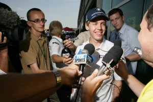 1st day for the new boy, a fresh faced Sebastian Vettel at the 2007 USA Grand Prix