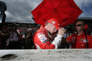 Kimi Räikkönen gets ready for action, at the German Grand Prix 2008