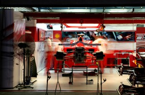 The Ferrari team works into the night, at the Japanese Grand Prix