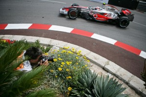 Formula one photographic legend, Rainer Schlegelmilch shooting at the Monaco Grand Prix