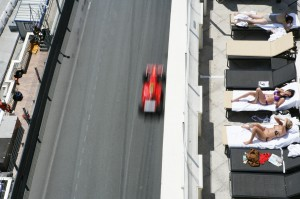 Sun worshipers at the Monaco Grand Prix