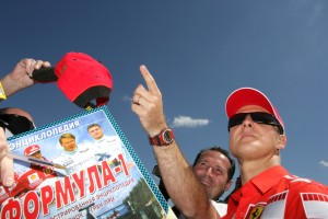 Michael Schumacher with fans at the Hungarian Grand Prix 2005