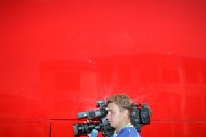 A cameraman at the Italian Grand prix